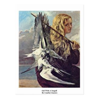 Girl With A Seagull By Courbet Gustave Postcard