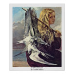 Girl With A Seagull By Courbet Gustave Poster