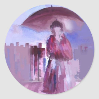 GIRL WITH AN UMBRELLA CLASSIC ROUND STICKER
