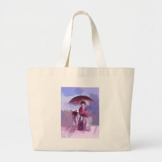GIRL WITH AN UMBRELLA LARGE TOTE BAG