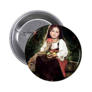 Girl with Apples Antique Painting Pinback Buttons