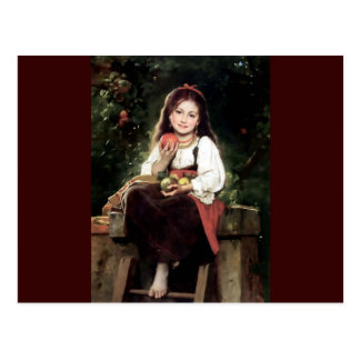 Girl with Apples Antique Painting Postcard