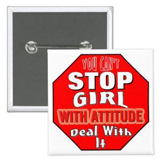 Girl With Attitude 2 Inch Square Button