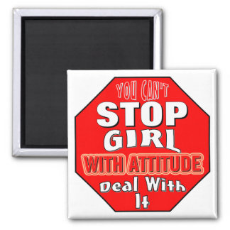 Girl With Attitude 2 Inch Square Magnet