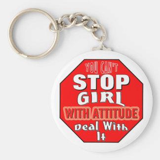 Girl With Attitude Basic Round Button Keychain