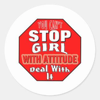 Girl With Attitude Classic Round Sticker