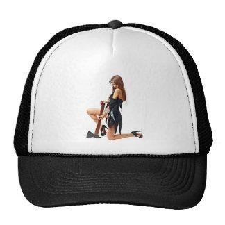 Girl with axe trucker hat