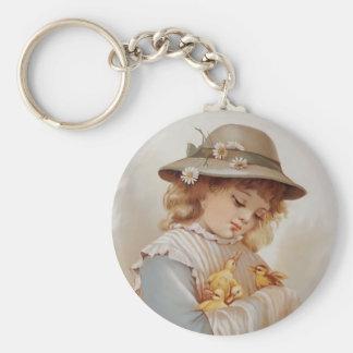 Girl with Baby Ducks Basic Round Button Keychain