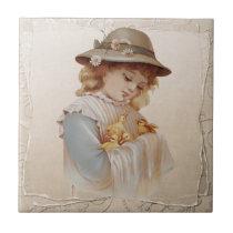 Girl with Baby Ducks Ceramic Tile