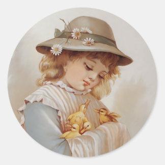 Girl with Baby Ducks Classic Round Sticker