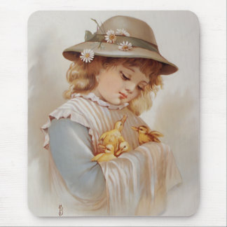 Girl with Baby Ducks Mouse Pads