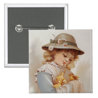 Girl with Baby Ducks Pinback Button
