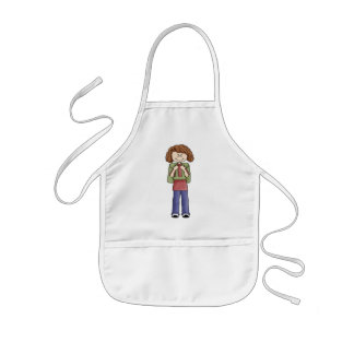Girl With Backpack Kids' Apron