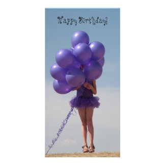 Girl with Balloons Card