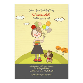 Girl With Balloons Invitation