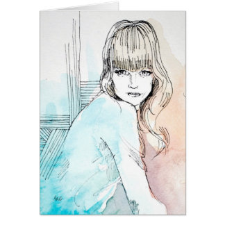 Girl with Bangs Fashion Illustration Note Card