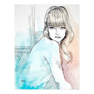 Girl with Bangs Fashion Illustration Post Card
