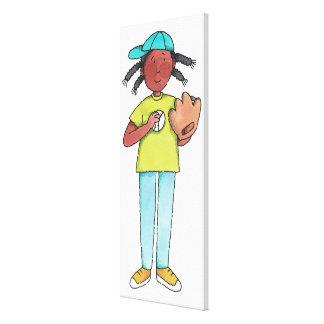 Girl with Baseball & Glove Canvas Print