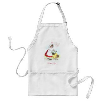 Girl with Basket of Eggs and Chicks Adult Apron