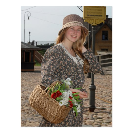 Girl with basket of flowers postcard