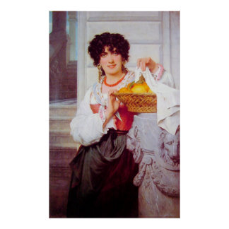 Girl with Basket of Oranges and Lemons by Cot Poster