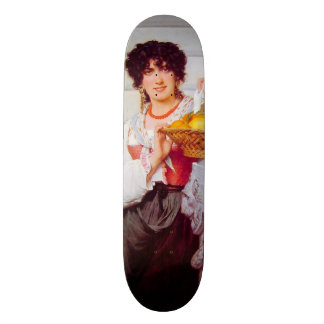 Girl with Basket of Oranges and Lemons by Cot Skateboard