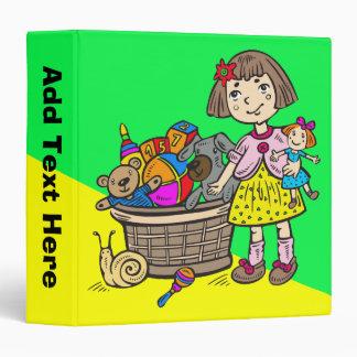Girl With Basket Of Toys 3 Ring Binder