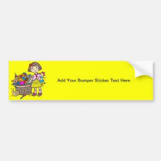 Girl With Basket Of Toys Bumper Sticker