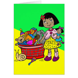 Girl With Basket Of Toys Card