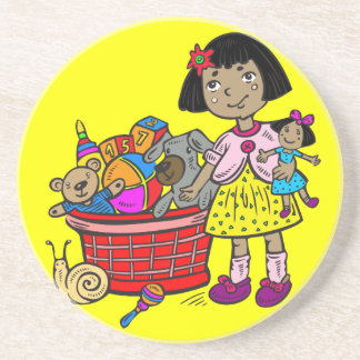Girl With Basket Of Toys Coaster