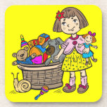 Girl With Basket Of Toys Drink Coasters