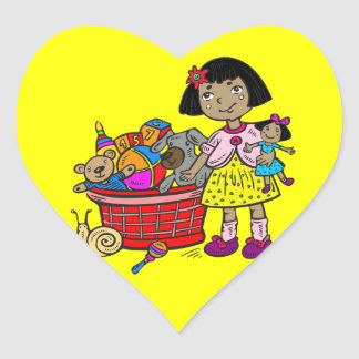 Girl With Basket Of Toys Heart Sticker
