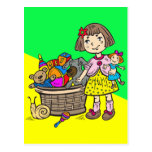 Girl With Basket Of Toys Postcard