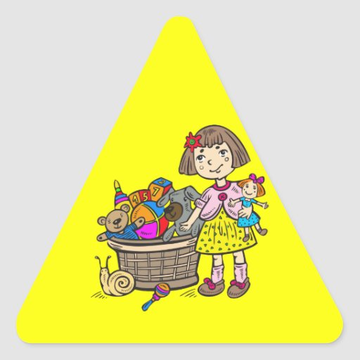 Girl With Basket Of Toys Triangle Sticker