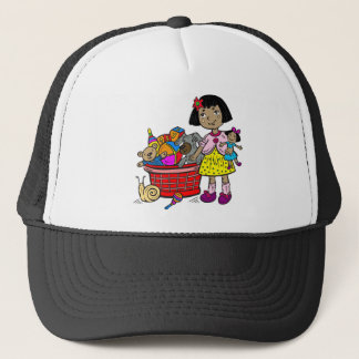 Girl With Basket Of Toys Trucker Hat