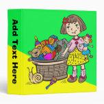 Girl With Basket Of Toys Vinyl Binder