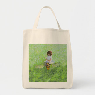 Girl with Bee Painting by Steve Berger on a Tote