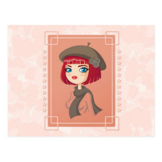 Girl with beret postcard