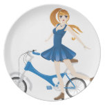 Girl with Bicycle 2 Melamine Plate