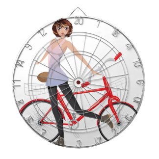 Girl with Bicycle Dartboard With Darts