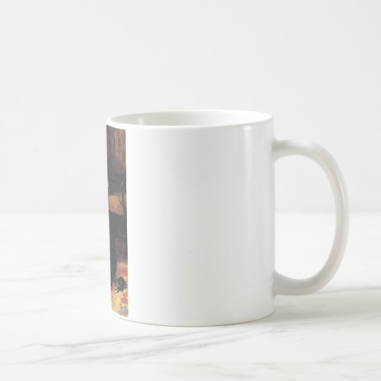 Girl with Black cat and Kittens painting Coffee Mug
