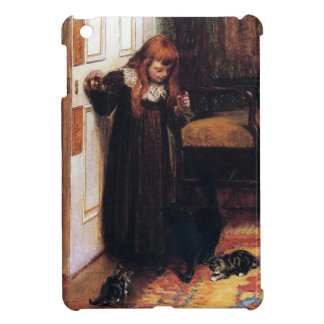 Girl with Black cat and Kittens painting Case For The iPad Mini