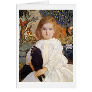 Girl with Black cat, John Duncan Greeting Card
