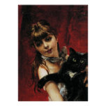 Girl With Black Cat - Reproduction Art Poster