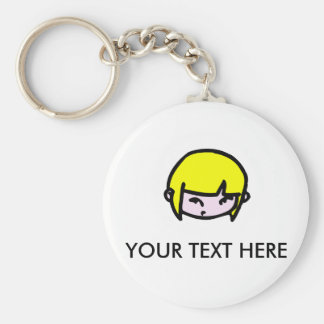 Girl with blonde hair   Key-ring Keychain