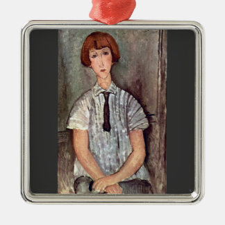 Girl with blouse by Amedeo Modigliani Christmas Tree Ornaments