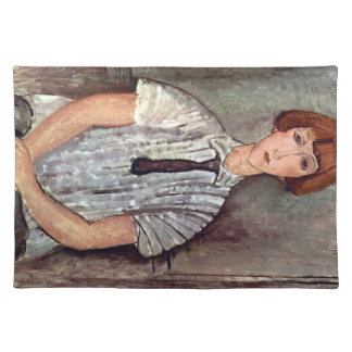 Girl with blouse by Amedeo Modigliani Cloth Place Mat