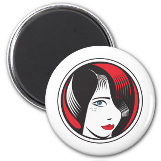 GIRL WITH BLUE EYES 2 INCH ROUND MAGNET