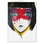 Hand shaped Girl with Blue Eyes Greeting Card