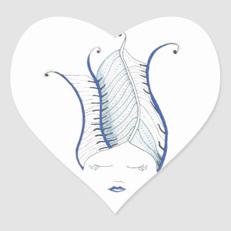Girl with Blue Hairdo Heart Sticker